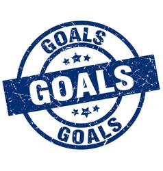 Goals blue round grunge stamp vector