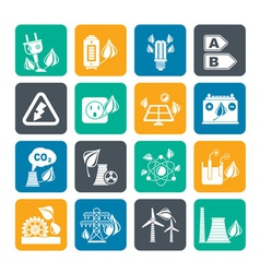 Silhouette Green energy and environment icons vector image