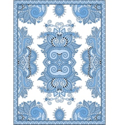 Blue colour ukrainian floral carpet design for vector