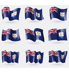 Set of anguilla flags in the air vector