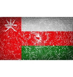 Flags oman with broken glass texture vector