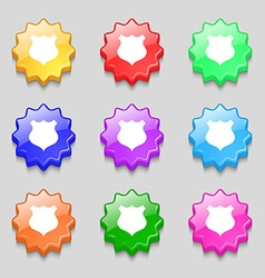 Shield icon sign symbols on nine wavy colourful vector