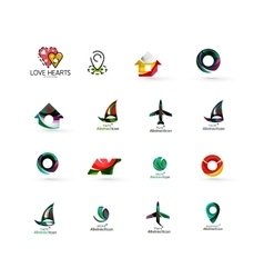 Set of abstract travel logo icons business app vector