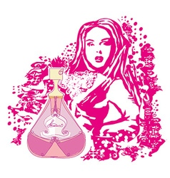 Abstract woman and bottle of perfume vector
