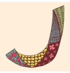 Vintage monogram J Doodle colorful alphabet vector image