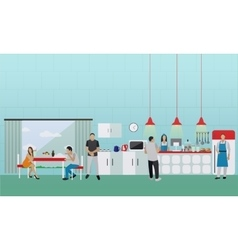 Banner with kitchen interior people having vector
