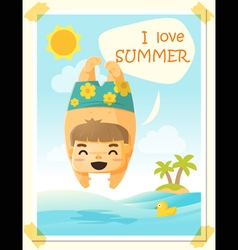 Enjoy tropical summer holiday with little boy 3 vector