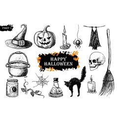 Hand drawn halloween set vintage vector
