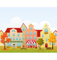 Fall town street vector image