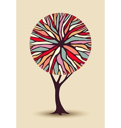 Abstract tree with colorful shape vector image vector image