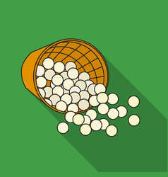 Basket with golf balls icon in flat style isolated vector