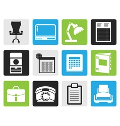 Black simple business office and firm icons vector