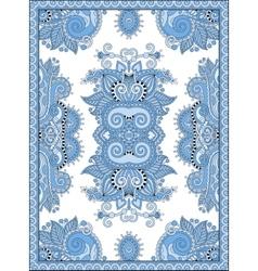 Blue colour ukrainian floral carpet design for vector