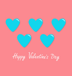 Blue heart icon set happy valentines day sign vector