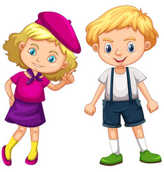 Boy and girl with blond hair vector