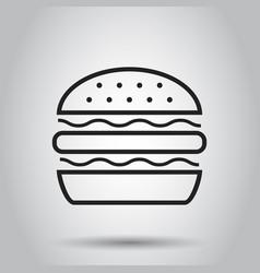 burger fast food flat icon hamburger symbol logo vector image