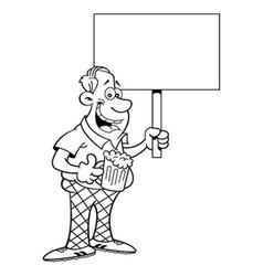 Cartoon man holding a sign vector