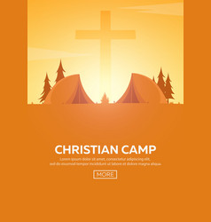 Christian summer camp evening camping cross vector