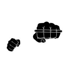 Clenched man fists holding brass-knuckle black vector