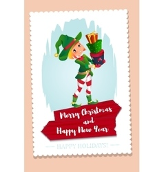 Elf santa s assistant with gifts isolated on a vector