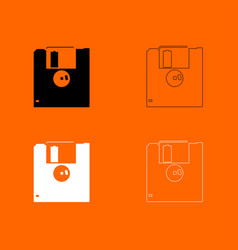 floppy disk black and white set icon vector image vector image