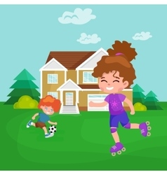 Happy girl fun rollers children sport kids vector image