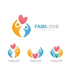 heart and people logo combination vector image