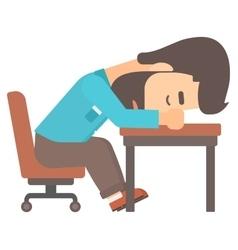 Man sleeping on table vector