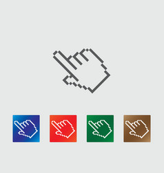 Pixel finger point icons vector image vector image