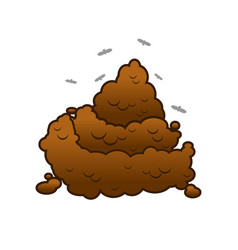 poop and flies shit isolated turd on white vector image