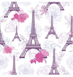 Purple pink eifel tower paris and roses vector
