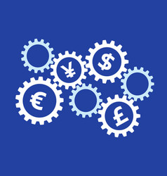 Rotating gears with currency symbols on blue vector