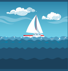 Sea white sailboat on small waves vector