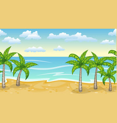 seamless natur beach landscape with palm trees vector image vector image