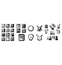 set of black glossy icons vector image