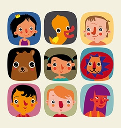 Set of childrens icons vector image vector image