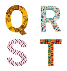 Set of Colorful patterned letters vector image vector image