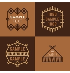 Set of Four Line Art Decorative Geometric vector image