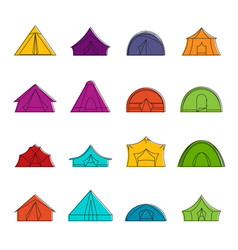 tent forms icons doodle set vector image