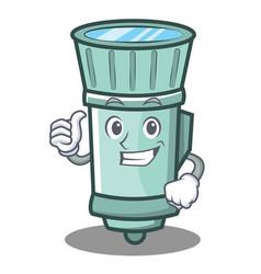 Thumbs up flashlight cartoon character style vector