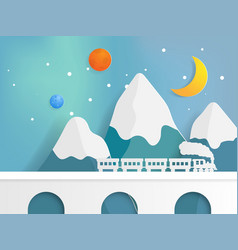 Train on bridge with mountain and star vector