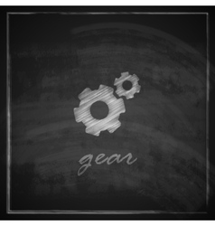Vintage with a gear icon on blackboard background vector