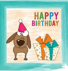 Childish birthday card with funny dog vector