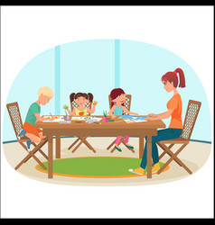 a woman sitting at the table in livingroom with vector image