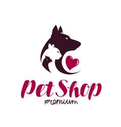 pet shop logo animal shelter dog cat parrot vector image