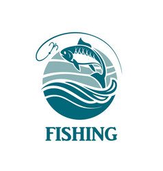 Fishing emblem with waves vector