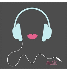 Blue headphones with cord pink lips music card vector