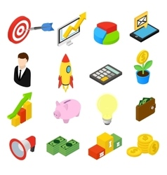 Business isometric icons set vector