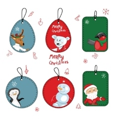 Set with different christmas labels on white vector