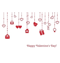 Greeting card for valentines day with hanging vector